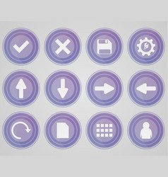 set of purple colored icons vector image