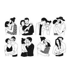 Set romantic couples isolated on white vector
