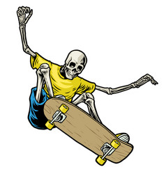 Skull skateboarder jumping in action vector