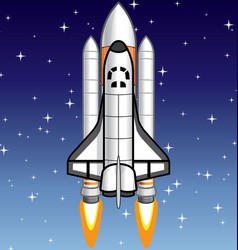 Space shuttle on starry background vector