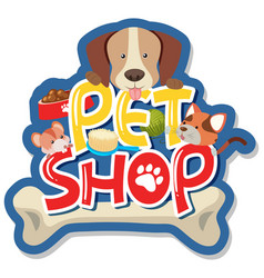 Sticker design for pet shop vector