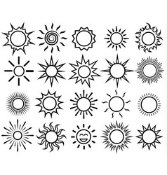 sun icon set sunlight outline vector image