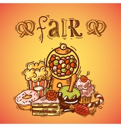 Sweets sketch fair background vector image