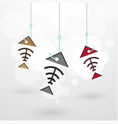 three fish skeleton on the hook with bubbles on vector image