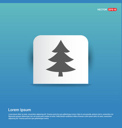 X-mas tree icon - blue sticker button vector