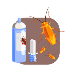 Can of cockroach insecticide and piece of chalk vector