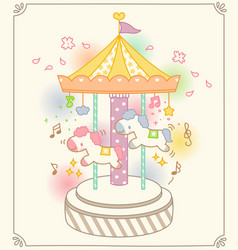 Cute colorful merry go round ride vector