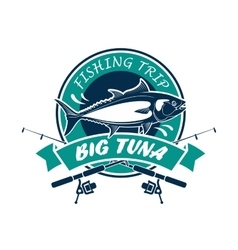 Fishing trip sport club round sign vector