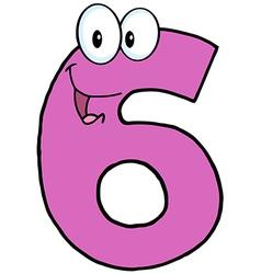 Number Six Cartoon Character vector image