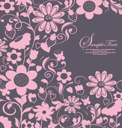 purple abstract floral card vector image vector image