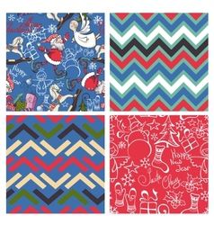 Set of christmas patterns seamlessly tiling vector image vector image