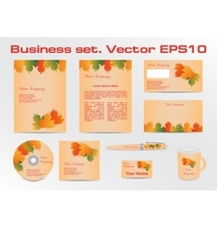 Business set templates with autumn vector image vector image