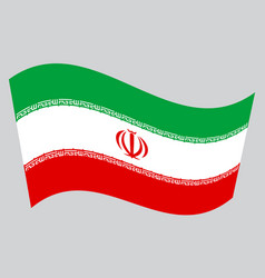 flag of iran waving on gray background vector image vector image