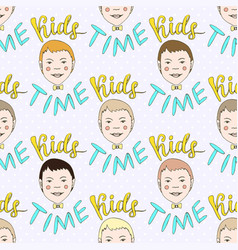 hand drawn seamless pattern with kids and vector image