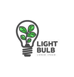 logo with plant growing inside light bulb ecology vector image vector image