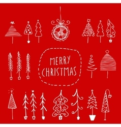 Set of hand drawn Christmas trees vector image vector image