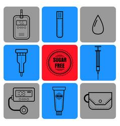 test strip drop of blood syringe and glucose vector image vector image