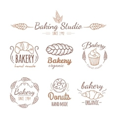 Bakery logo elements vector image vector image