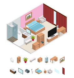 interior hotel room isometric view vector image vector image
