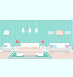 Modern bedroom interior with furniture including vector