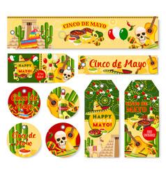 Cinco de mayo mexican holiday fiesta tags vector