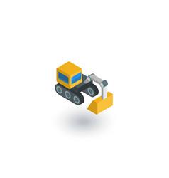 excavator isometric flat icon 3d vector image vector image