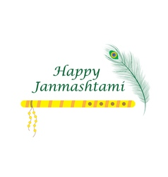 Happy janmashtami indian feast of the birth vector