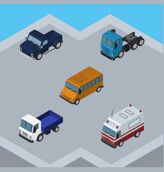Isometric automobile set of lorry truck suv and vector