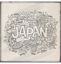 Japan hand lettering and doodles elements vector image