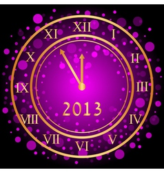 purple New Year clock vector image