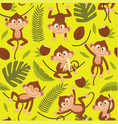seamless pattern with monkey on yellow background vector image vector image