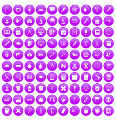 100 compass icons set purple vector