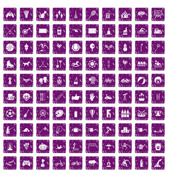 100 kids activity icons set grunge purple vector image