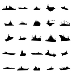 25 different warships silhouettes vector