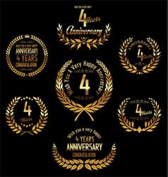 Anniversary golden laurel wreath 4 years vector