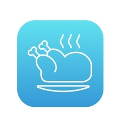 Baked whole chicken line icon vector image