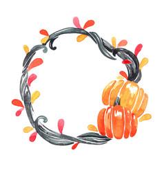 black ivy with pumpkin wreath watercolor vector image