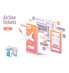 Booking airline tickets app template vector