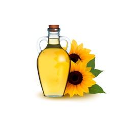 Bottle of sunflower oil with flower vector