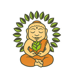 buddha character with plants in lotus pose vector image