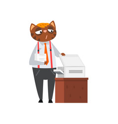 businessman cat printing documents funny vector image