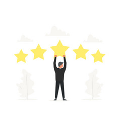 Businessman hold big star over head positive vector