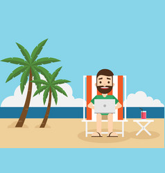 businessman working on beach with a laptop vector image