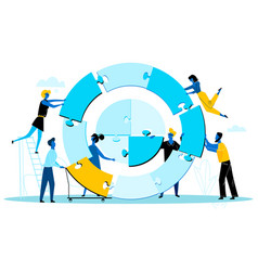 Businesspeople building together huge round puzzle vector
