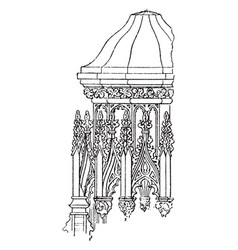 Canopy detail or post support vintage engraving vector