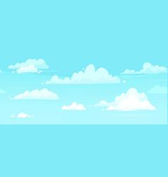 Cartoon cloudy skies puffy clouds in blue sky vector