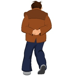 Cartoon man in brown jacket walking away back view vector image