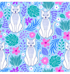 cats and tropical flowers vector image