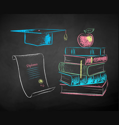 chalk drawn set education symbols vector image