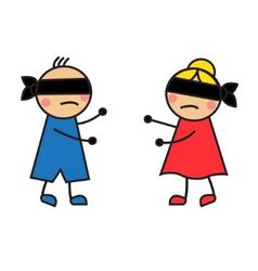 children blindfolded seek each other vector image